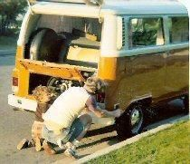 215.jpg - My dad and I working on our family 1973 Bus