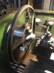 Machining the boss on the lathe