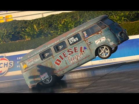 CRAZY WHEELSTANDING KOMBI RATROD SPLIT WINDOW KOMBI VW