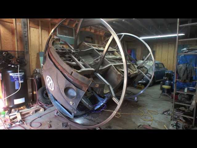 VW Bus Single Cab Rotisserie Welding a Bus